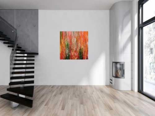 Abstraktes Acrylgemälde modern quadratisch in orange grün gelb und rot