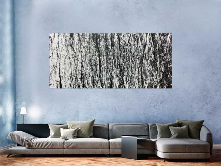 abstraktes acrylbild in schwarz wei modernes gem lde schlicht auf leinwand 90x200cm. Black Bedroom Furniture Sets. Home Design Ideas