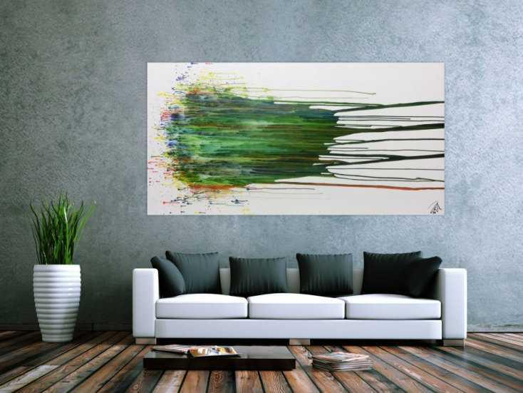 abstraktes gem lde acryl gro modern in gr n blau wei handgemalt auf leinwand in 100x200cm von. Black Bedroom Furniture Sets. Home Design Ideas