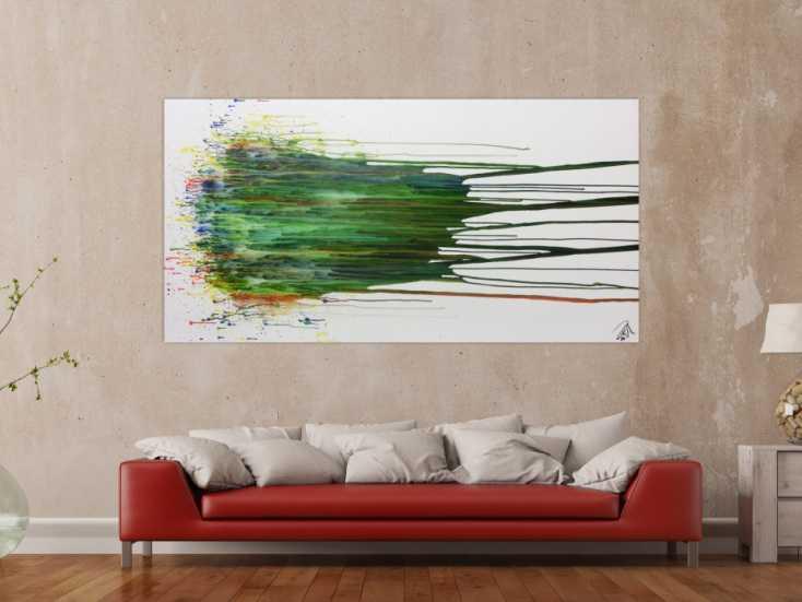 abstraktes gem lde acryl gro modern in gr n blau wei auf leinwand 100x200cm. Black Bedroom Furniture Sets. Home Design Ideas