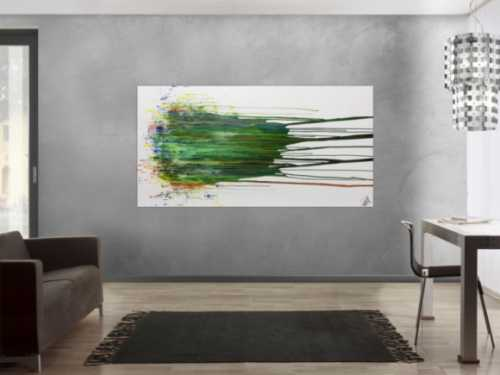 Abstraktes Gemälde acryl groß modern in grün blau weiß