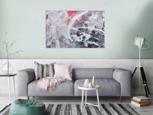 Abstraktes Acrylbild modern in grau schwarz weiß rot
