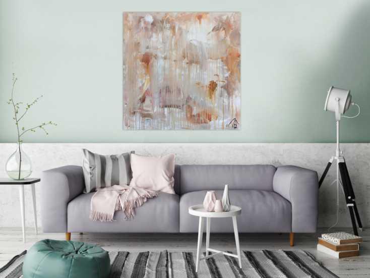 abstraktes gem lde helle farben mediteran in baige braun und wei auf leinwand 100x100cm. Black Bedroom Furniture Sets. Home Design Ideas
