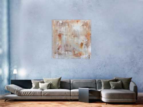 Abstraktes Gemälde helle Farben mediteran in baige braun und weiß