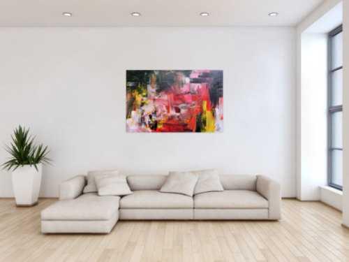 Abstraktes Gemälde in schwarz rot groß modern und zeitgenössisch