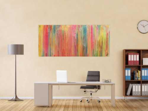 Buntes abstraktes Acrylgemälde modern in hellen Pastellfarben