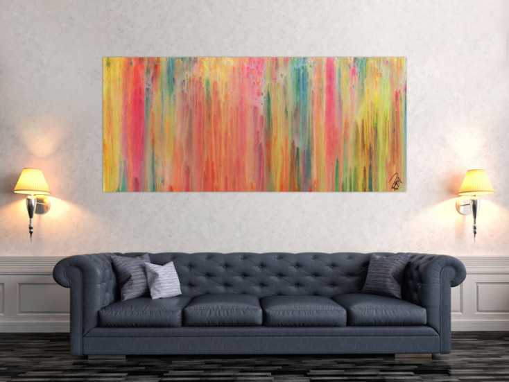 #809 Buntes abstraktes Acrylgemälde modern in hellen Pastellfarben 80x180cm von Alex Zerr
