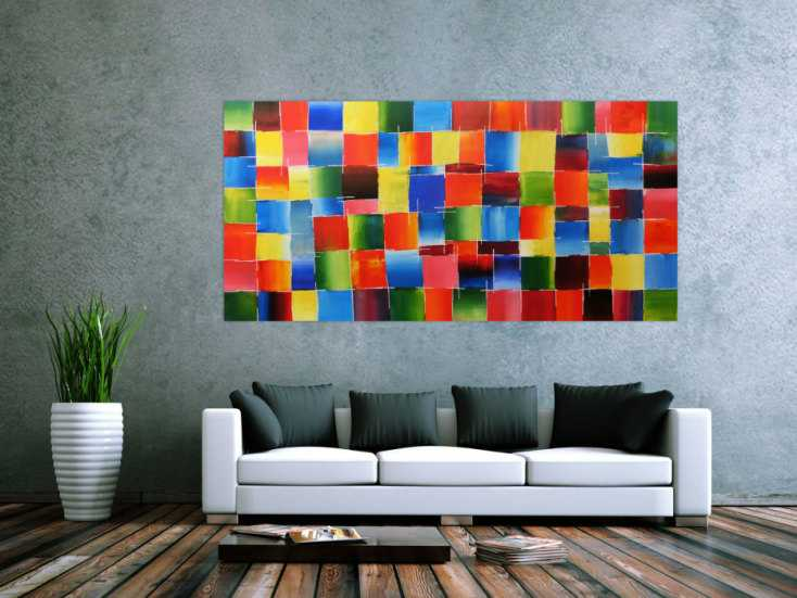 buntes acrylbild handgemalt auf leinwand in 100x200cm von alex zerr. Black Bedroom Furniture Sets. Home Design Ideas