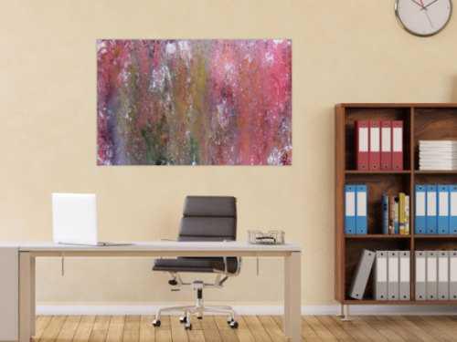 Abstraktes Acrylbild in Galaxie Farben modern in lila rosa und weiß