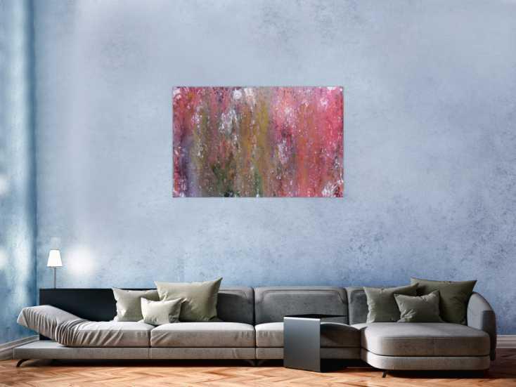 #811 Abstraktes Acrylbild in Galaxie Farben modern in lila rosa und weiß 80x120cm von Alex Zerr