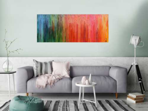Buntes abstraktes Gemälde modernes Acrylbild mit vielen Farben Regenbogen