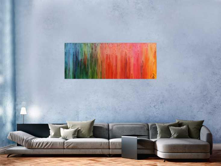 #812 Buntes abstraktes Gemälde modernes Acrylbild mit vielen Farben ... 60x150cm von Alex Zerr