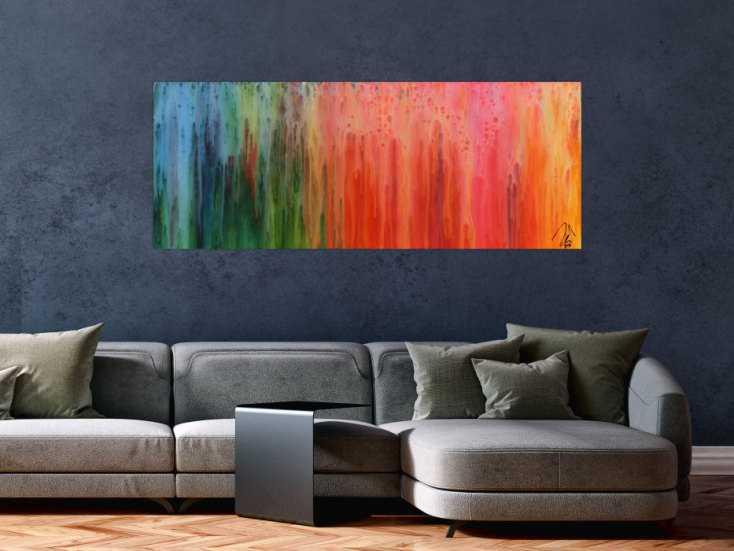 buntes abstraktes gem lde modernes acrylbild mit vielen farben regenbogen auf leinwand 60x150cm. Black Bedroom Furniture Sets. Home Design Ideas