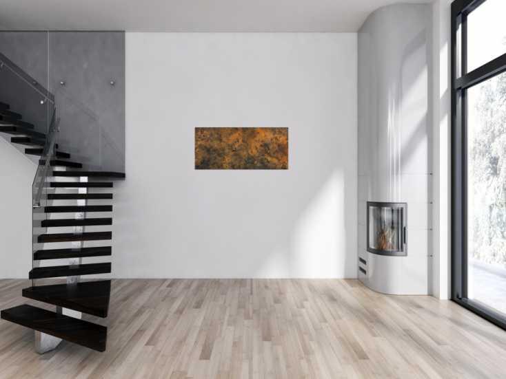 #813 Modernes abstraktes Gemälde aus echtem Rost schlicht minimalistisch 45x100cm von Alex Zerr