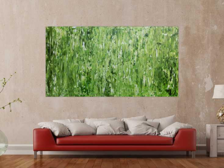 #814 Abstraktes Gemälde schlicht in grün sehr modern zeitgenössisch 100x200cm von Alex Zerr