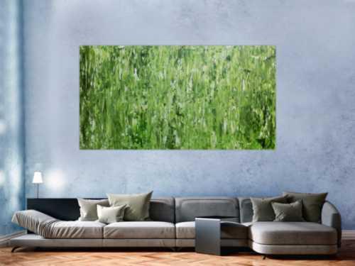 Abstraktes Gemälde schlicht in grün sehr modern zeitgenössisch
