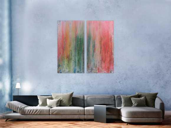 Abstraktes Acrylbid aus zwei Teilen modern schlicht helle Farben grün rot