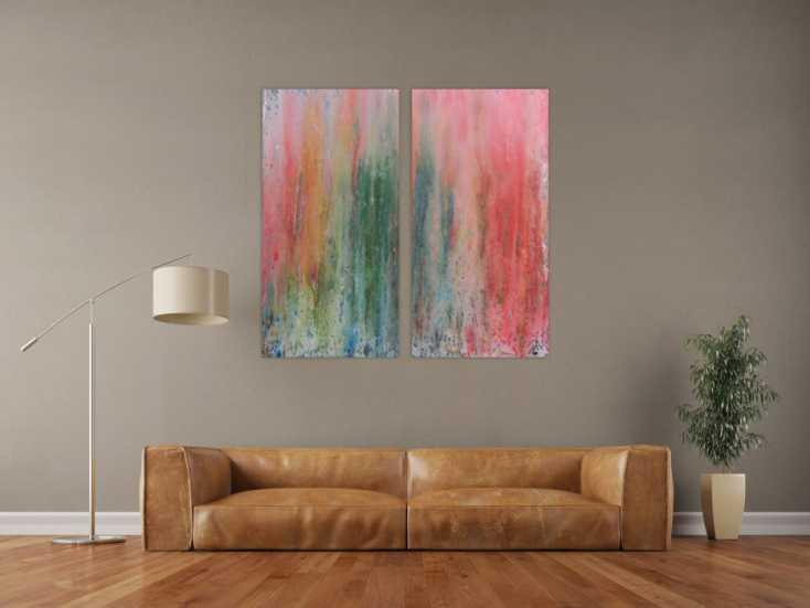 abstraktes acrylbid aus zwei teilen modern schlicht helle farben gr n rot auf leinwand 120x120cm. Black Bedroom Furniture Sets. Home Design Ideas
