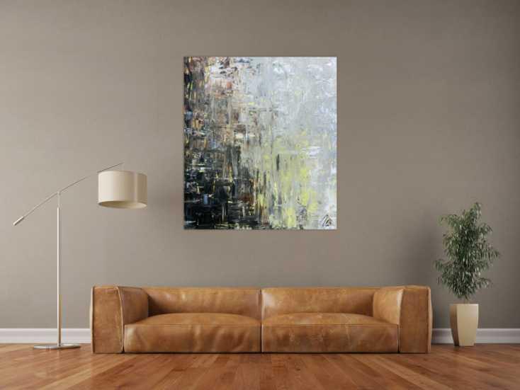 abstraktes gem lde modern mediterrane farben auf leinwand 120x100cm. Black Bedroom Furniture Sets. Home Design Ideas
