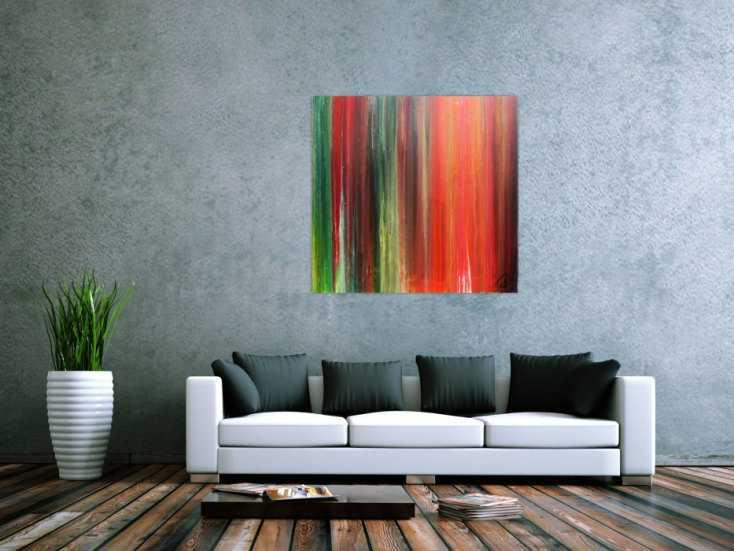 #818 Abstraktes Bild sehr bunt modernes Gemälde Fließtechnik 100x100cm von Alex Zerr