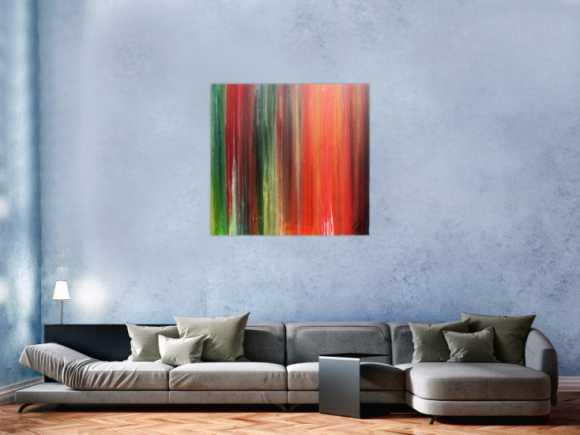 Abstraktes Bild sehr bunt modernes Gemälde Fließtechnik