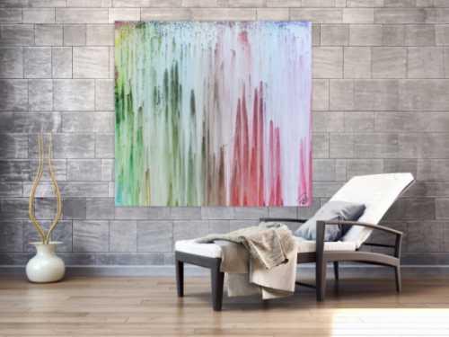 Abstraktes Gemälde helle Fabrne modern bunt Fließtechnik
