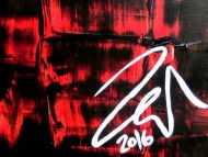 Detailaufnahme Abstraktes Gemälde sehr modern rot schwarz schlicht Spachteltechnik