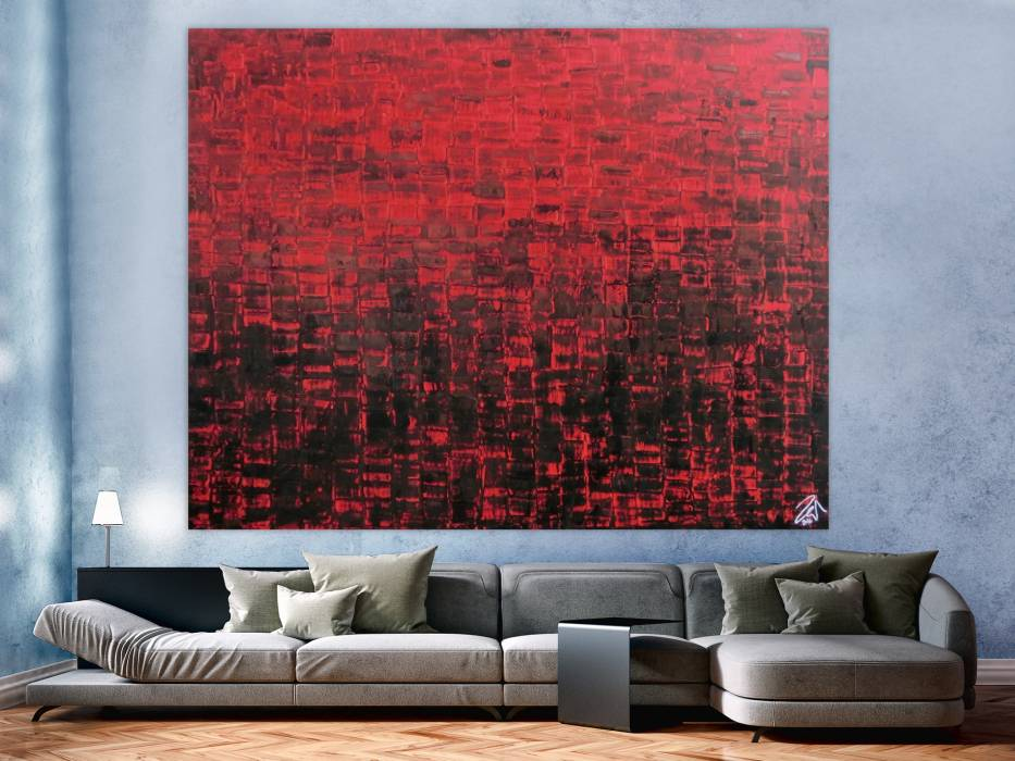 abstraktes gem lde sehr modern rot schwarz schlicht spachteltechnik handgemalt auf leinwand in. Black Bedroom Furniture Sets. Home Design Ideas