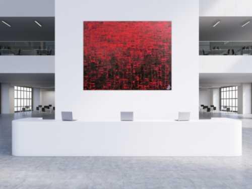 Abstraktes Gemälde sehr modern rot schwarz schlicht Spachteltechnik