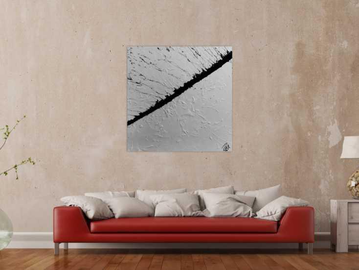 #821 Abstraktes Gemälde minimalistisch in schwarz weiß modern 100x100cm von Alex Zerr