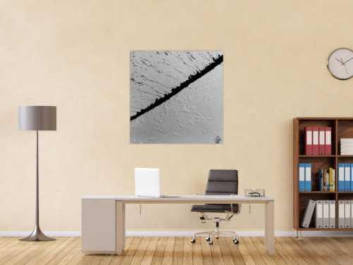 Abstraktes Gemälde minimalistisch in schwarz weiß modern
