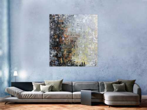 Abstraktes Gemälde mediterrane Farben braun schwarz grau modern