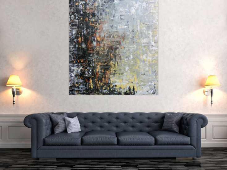 abstraktes gem lde mediterrane farben braun schwarz grau modern auf leinwand 130x120cm. Black Bedroom Furniture Sets. Home Design Ideas