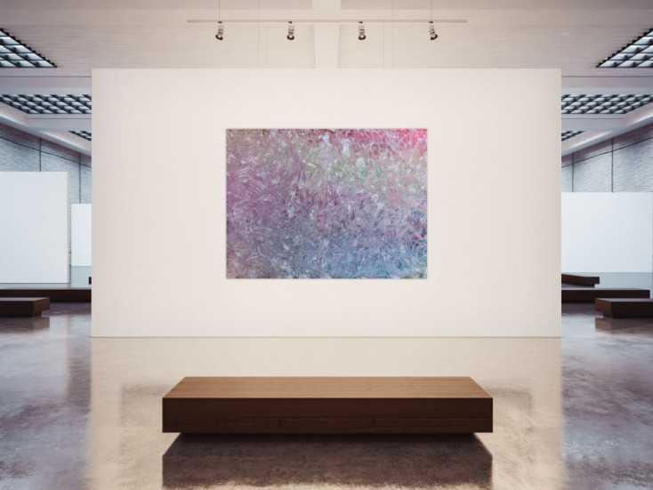 gro es abstraktes gem lde sehr helle farben modern viel wei rosa t rkis auf leinwand 150x200cm. Black Bedroom Furniture Sets. Home Design Ideas