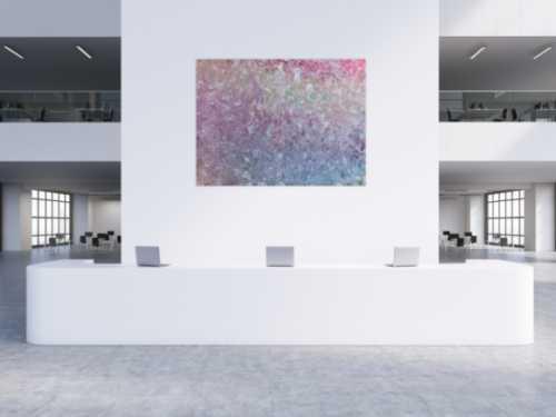 Großes abstraktes Gemälde sehr helle Farben modern viel weiß rosa türkis