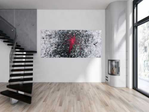 Abstraktes Acrylbild sehr modern grau schwarz weiß und pink