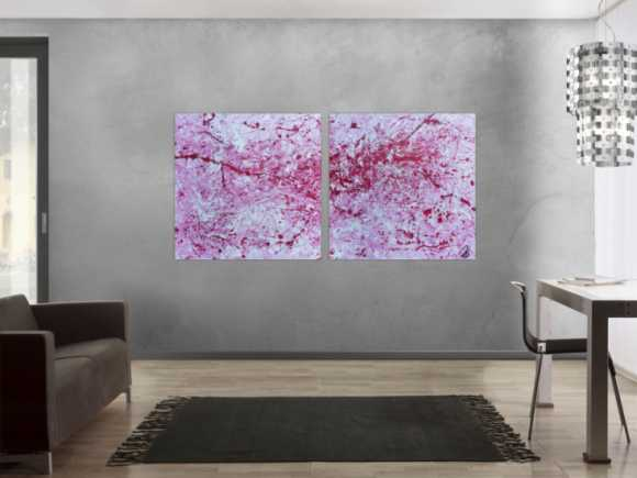Abstraktes Acrylbild zwei teile modern pink weiß rosa schlicht