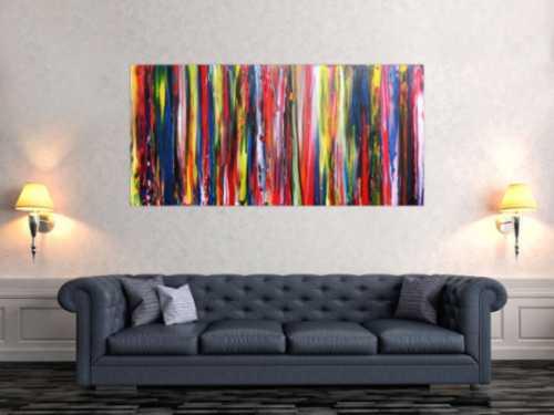 Buntes abstraktes Acrylbild modernes Gemälde bunte Streifen