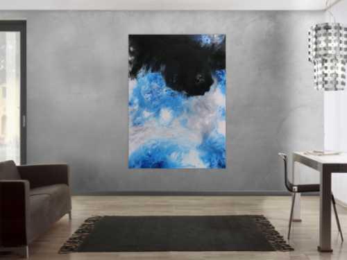 Modernes Acrylbemälde abstrakt weiß schwarz blau grau