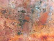 Detailaufnahme Abstraktes Gemälde aus echtem Rost modern schlicht