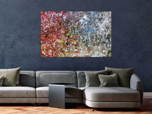Abstraktes Acrylbild modernes Gemälde bunt viele Farben