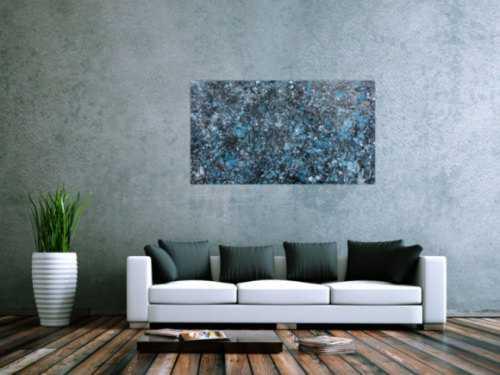 Modernes Gemälde abstraktes Acrylbild blau türkis mit glitzer und silber