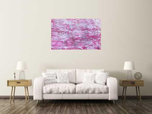 Abstraktes Acrylbild rosa mit glitzer modernes Gemälde schlicht