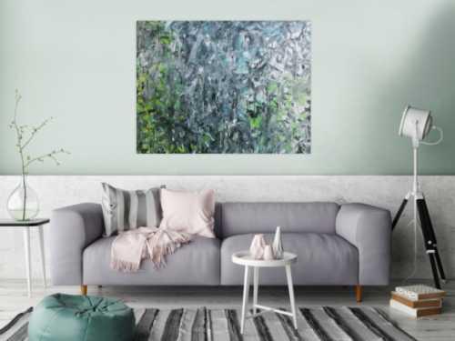 Abstraktes Gemälde Fließtechnik türkis grün blau mordern zeitgenössisch