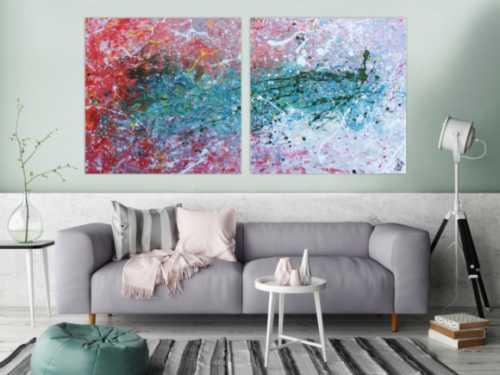 Abstraktes Gemälde modernes Acrylbild aus zwei Teilen helle Farben