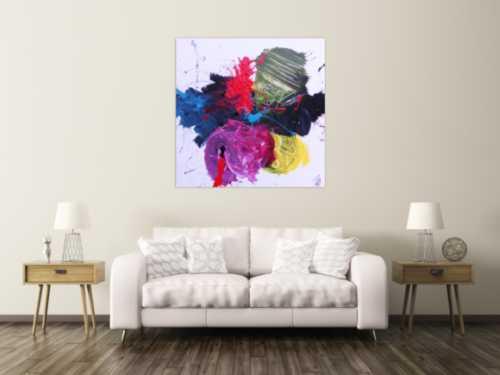 Abstraktes Gemälde modernes Acrylbild sehr bunt und zeitgenössisch