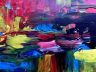 Detailaufnahme Sehr buntes Acrylbild modernes Gemälde in Spachteltechnik viele Farben
