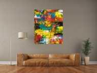 Sehr buntes Acrylbild modernes Gemälde in Spachteltechnik viele Farben