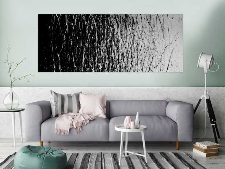 modernes acrylbild abstrakt schwarz wei auf leinwand 80x200cm. Black Bedroom Furniture Sets. Home Design Ideas