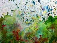 Detailaufnahme Sehr buntes abstraktes Gemälde modernes Acrylbild explosion der Farben